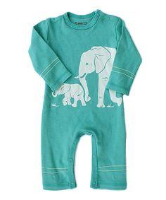 Wee Urban Teal Elephants Organic Playsuit - Infant by Wee Urban