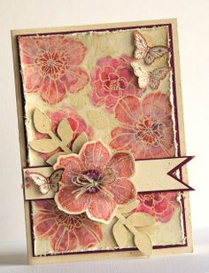 handmade card from Susan Smit: Stampin' Up Demonstrator Nederland ... vintage ... shabby chic ... Secret Garden flowers embossed and colored in watercolor look ... gorgeous  card!!!