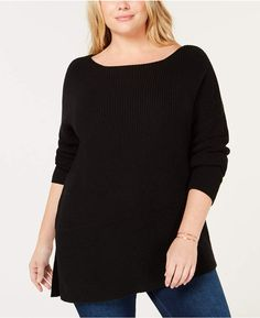 0fb644d971 525 America Plus Size Cotton Asymmetrical Hem Sweater