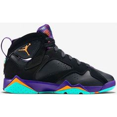Air Jordan 7 Retro Girls Black/Bright Citrus-Court Purple-Light Retro ❤ liked on Polyvore featuring sneakers, jordans y shoes