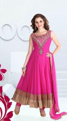 Pink Net Long Length Anarkali Suit ZP2701