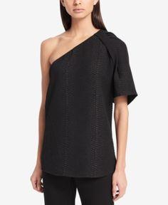 Calvin Klein Textured One-Shoulder Top - Black XL