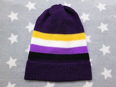 Knit Pride Hat  Nonbinary Pride  Purple Slouchy Beanie