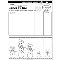 Winter Snowmen Order By Size (cut and paste)