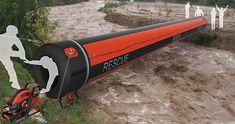 Instead of using rope pulley system, it would be much safer to use Air Rope when crossing floodwaters.