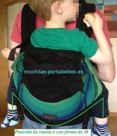 Emeibaby con un niño grande, la única mochila que siempre recoge correctamente los muslos de corva a corva, tenga el niño la edad que tenga.