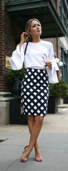 Click for outfit details! Gingham pencil skirt, white bell sleeve blouse, navy crossbody bag + nude ankle strap sandals {Ann Taylor, Chelsea 28, Sam Edelman, affordable workwear, office style, classic style}