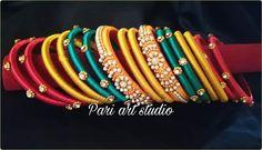 In this page i m sharing different stuffs like glass painting,fabric work, rakhi making, flowers. Rakhi Making, Silk Thread, Art Studios, Bangles, Fabric, Handmade, Stuff To Buy, Bracelets, Tejido