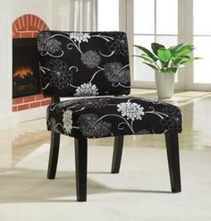 Coaster 902048 Patterned Fabric Upholstery Accent Chair, Black And White Flowers
