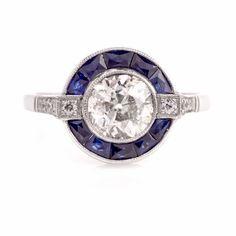 Art Deco Old Mine Diamond Sapphire Pltinum Engagement Ring Item # PLFEB 17-24