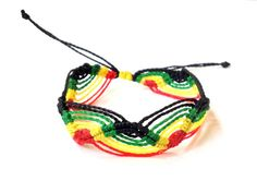 Rasta bracelet, Rastafari bracelet, Rasta jewelry, Costa Rican jewelry, One love, micro-macrame bracelet, string bracelet, Peruvian wave