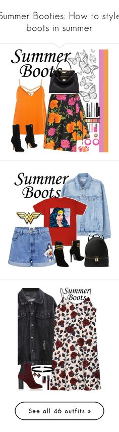 """""""Summer Booties: How to style boots in summer"""" by fashion-nova ❤ liked on Polyvore featuring Emporio Armani, Mixit, Christian Dior, Balenciaga, Julie Sion, Yves Saint Laurent, Lancôme, Fendi, MANGO and Paul & Joe Sister"""