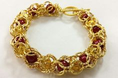 Red and Gold Captive Beaded Bracelet by AndrassidyDesigns on Etsy