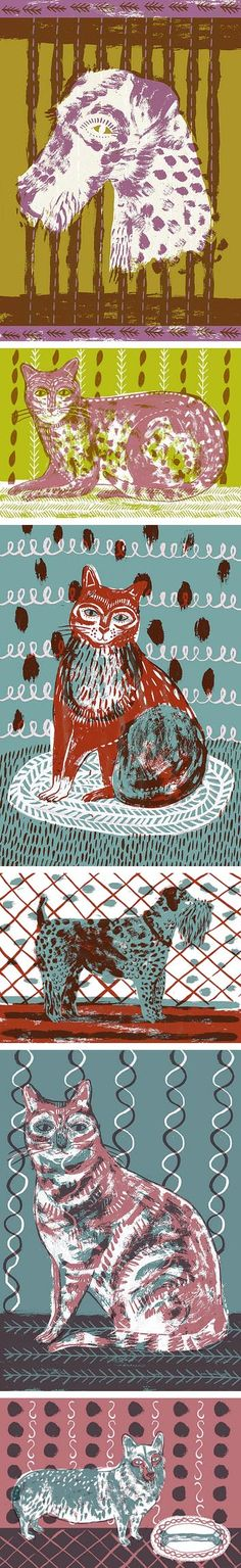 Alice Pattullo, dog, cat, art, design, illustration, print, screen printing, colour, pattern, texture, drawing