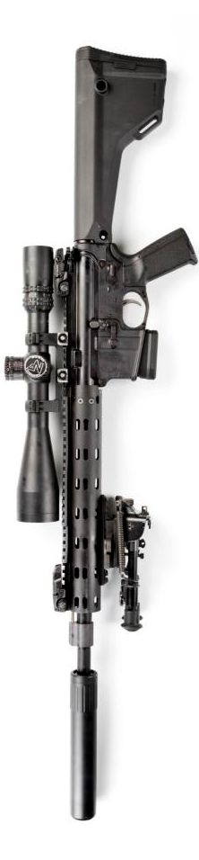 Suppressed rifle layout by Stickman. Magpul fixed MOE Rifle Stock and grip with #Nightforce #Riflescope.