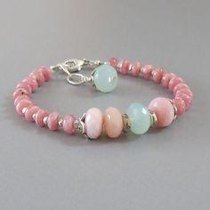 Rhodochrosite Pink Peruvian Opal Ocean Chalcedony Sterling Silver Bracelet DJStrang Gemstone Boho Cottage Chic