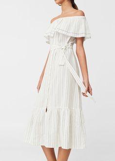 Printed off-shoulder dress -  Woman | MANGO Slovakia
