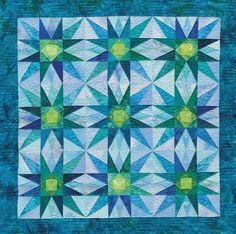 """Star Echoes"" by Joen Wolfrom, analogous color scheme, blue-violet to yellow-green"