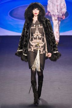 Anna Sui, NYFW fall 2014.  I love this look so much, and yet almost none of it would work on me.  It's just... the attitude, somehow.   All Anna Sui's Fall 2014 stuff is beautifully colorful and playful:  http://nymag.com/thecut/runway/2014/fall/new-york/rtw/anna-sui/1/