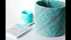 Basket of crochet knitting yarn. Crochet Flower Tutorial, Crochet Flowers, Crochet Storage, Crochet T Shirts, Knit Basket, Crochet Coat, Crochet Amigurumi Free Patterns, Crochet Home Decor, Crochet Videos