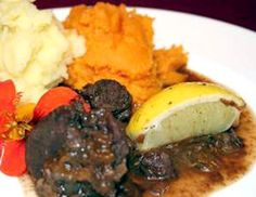 Ostrich Goulash: A classic Namibian recipe for a stew of ostrich meat in a cinnamon and prune sauce
