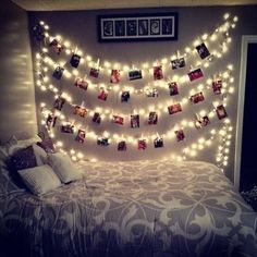 Wall, photo collage with fairy lights. Use clothes pins to clip favourite pictures of family and friends in between the bubls.