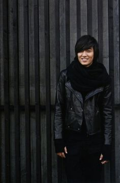 The granny scarf and mittens with the naughty leather and shaggy hair is a great combo, LMH!