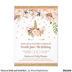 Unicorn Birthday Invitations, Unicorn Birthday Parties, Unicorn Party, Disney Birthday, Rainbow Unicorn, Paw Patrol Invitations, Gold Invitations, Pink And Gold Birthday Party, Birthday Wishes For Boyfriend