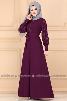 moda selvim Kolları Taşlı Kemerli Elbise 5180AY342 Mürdüm Hijab Gown, Muslim Dress, Muslim Fashion, The Dress, Fashion Dresses, Dresses With Sleeves, Gowns, Long Sleeve, Hijab Dress