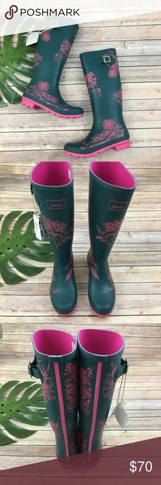 Joules blue & pink floral welly rain boots Joules blue and pink floral rubber rain boots, size 9. They are new with tags and are free from any rips or stains. They measure about 16 inches around the calf and are about 16 inches tall. Joules Shoes Winter & Rain Boots