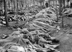 Dead bodies piled up in Bergen-Belsen concentration camp after the British troops liberated the camp on April 15, 1945. The British found 60,000 men, women and children dying of starvation and disease.