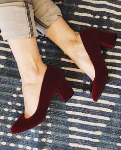The Preston Heel sold out in so many sizes we had to re-order it ASAP! Good news! All sizes are are back in stock in both burgundy velvet… Pretty Shoes, Beautiful Shoes, Cute Shoes, Me Too Shoes, Sock Shoes, Shoe Boots, Shoes Heels, Pumps, Heeled Sandals