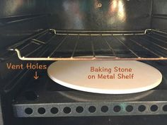 RV Oven: put a baking stone, tiles, or airfilled metal cookie sheet on top of this tray at bottom in order to distribute heat better from flame!