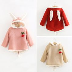 Baby Girls Wool Sweater With Rabbit Ears And Cherry  Children Outwear Girls…