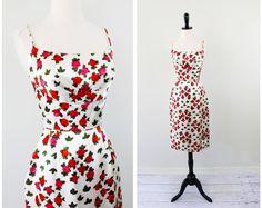 vintage 50s 60s Red Roses Satin Wiggle Cocktail Dress  $124
