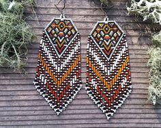 Sundown..Beaded Fringe Earrings Native American Inspired