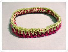 Pulsera crochet en rosa y amarillo