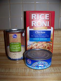 Quick and easy weeknight meal- Tuna rice a roni. (I would substitute the tuna for chicken.)