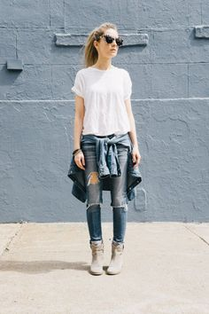 White shirt jeans chambray button down shirt brown gray ankle boots