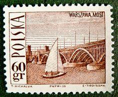 Stamp: Poniatowski Bridge, Warsaw, and sailboat (Poland) (Tourist Attractions) Mi:PL 1560 Graphic Art, Graphic Design, Invasion Of Poland, My Stamp, Sailboat, Postage Stamps, Scrapbook, Lettering, Bridges