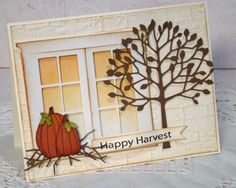 Memory Box window and arboscello tree. Fall Cards, Holiday Cards, Christmas Cards, Mason Jar Cards, Memory Box Cards, Poppy Cards, Scrapbook Cards, Scrapbooking, Window Cards