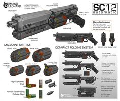 Commission: Armand Leonard by aiyeahhs on DeviantArt Sci Fi Weapons, Weapon Concept Art, Weapons Guns, Fantasy Weapons, Sci Fi Fantasy, Sci Fi Waffen, Rifles, Arte Robot, Iron Sights