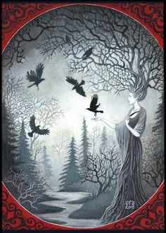 Goddess Macha and the Unkindess of Ravens Art 5x7 Greeting Card