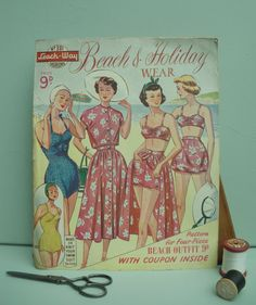 Vintage Sewing Patterns Catalog 1940s 1950s - Women's Fashions - Beach & Holiday Wear Leach-Way UK 40s 50s swim suit knitting pattern