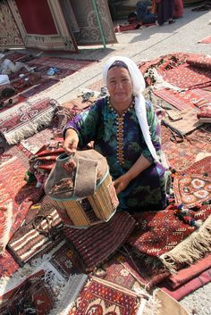 A carpet merchant at the Tolkuchka Bazaar outside Ashgabat, the capital of Turkmenistan.