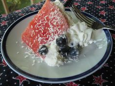 Red, White and Blue Watermelon Cake (Gluten-Free) Watermelon Cake, Gluten Free Cakes, Red And White, Sweets, Fruit, Party, Desserts, Food, Tailgate Desserts