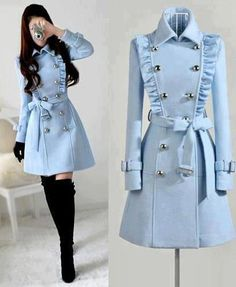 Made to order cashmere jacket coat dress Teen Fashion Outfits, Mode Outfits, Fashion Dresses, Mode Lolita, Cashmere Jacket, Cute Coats, Jacket Dress, Trench Coat Dress, Trench Coats