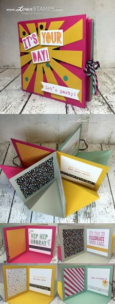 LovenStamps: Stamps in the Mail Club - video tutorial for how to make your own Pop-Up Corner Album, It's My Party and the Party Pop-Up Thinlits(Birthday Diy Ideas) Birthday Diy, Birthday Gifts, Birthday Card Pop Up, Origami Birthday Card, Birthday Sayings, Birthday Design, Sister Birthday, Tarjetas Diy, Diy And Crafts