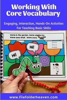 "This Core Vocabulary Adapted Book, ""Worm Says Hi"" is a fun and interactive book that focuses on the core vocabulary word ""hi. Vocabulary Activities, Vocabulary Words, Spring Activities, Hands On Activities, File Folder Games, Preschool Themes, Speech And Language, Core, Teaching"