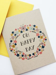 Vintage floral recycled greeting card Oh Happy by PrintSmitten